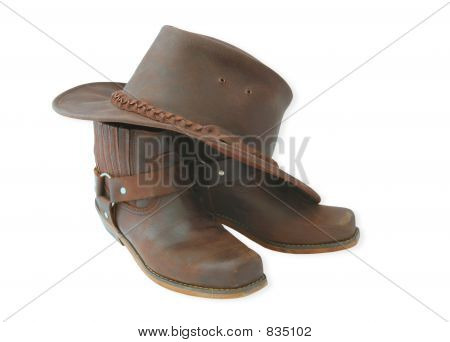 western boots and hat
