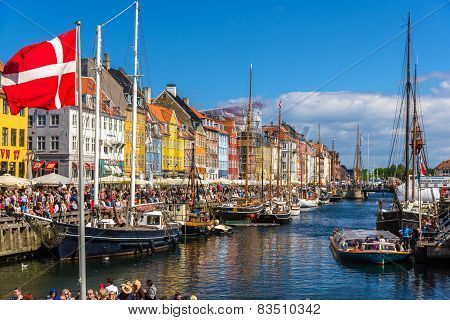 Copenhagen, Denmark - May 29: Boats In Nyhavn On May 29, 2014 In Copenhagen, Denmark. Nyhavn Is A 17