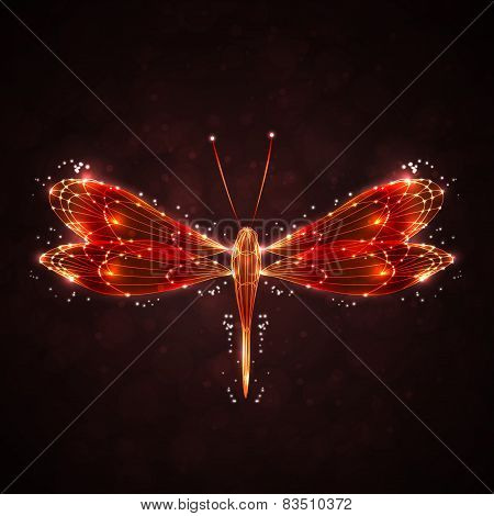 Shiny abstract dragonfly, technology energy  illustration