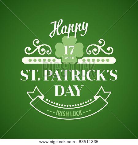 Typography St. Patrick Day. Vector illustration