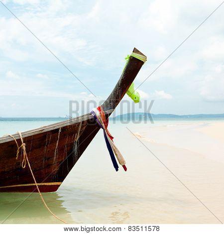 Boat on tropical beach, Andaman Sea, Thailand