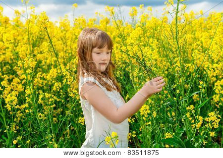 Outdoor portrait of a cute little girl playing with flowers in a countryside