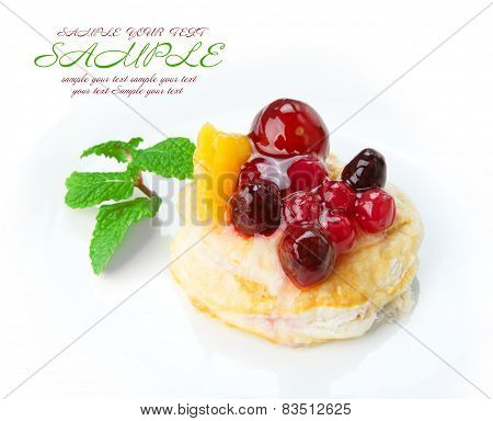 Restaurant Food Isolated - Fruit Berry Puff Pastry