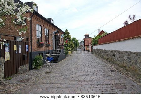 Idyllic street with roses and cobble stones