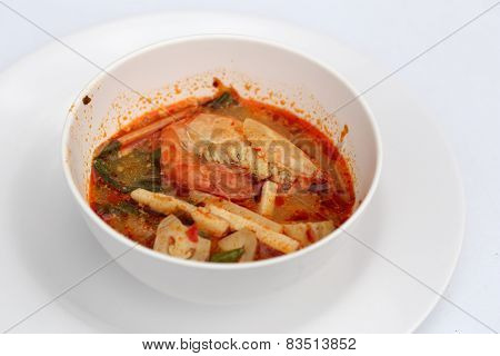 Tom Yum Goong - Thai Hot And Spicy Soup With Shrimp