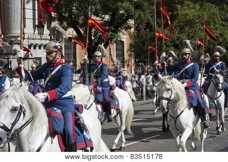 MADRID, SPAIN - OCTOBER 12,:  Spanish Royal Guard cavalry (Guardia Real) on the Spanish National day