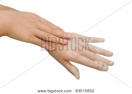 Spa Hand Treatment And Beauty,hand In Paraffin Bath ,woman Receiving Heat Therapy On Hands