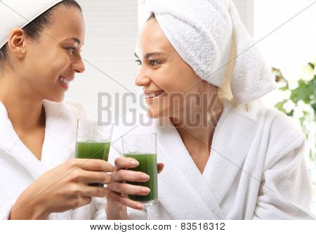 Relax in the spa two women in the beauty parlor