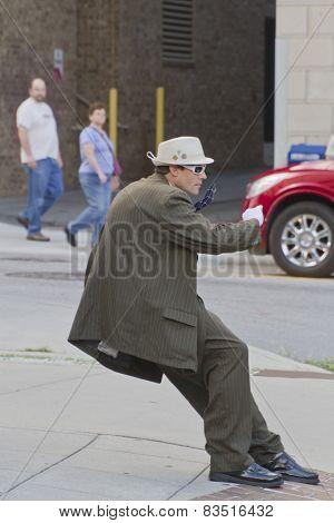 Asheville Leaning Statue Street Performer