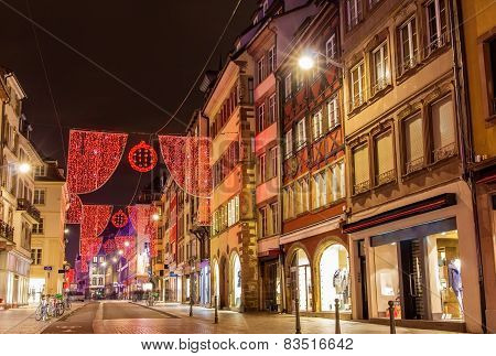 Rue Du Vieux Marche Aux Poissons On The Christmas Season 2014 In Strasbourg
