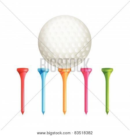Golf Tees. Vector. Golf Ball On Tee