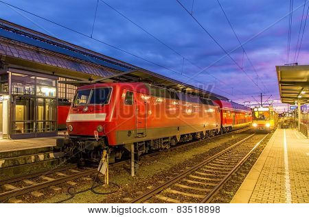 Train At Karlsruhe Central Station - Germany