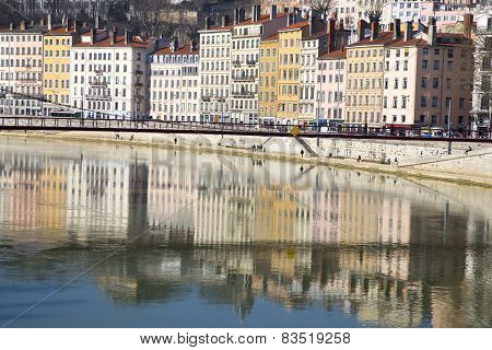 Lyon France - February 2015 : The Cityscape Of Old Lyon As Seen From Across The Rhone River.