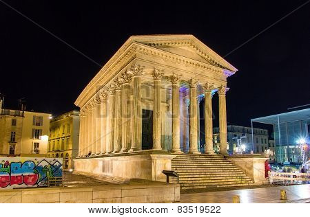 Maison Carree, A Roman Temple In Nimes, France