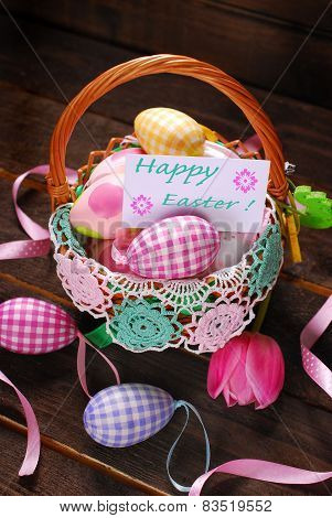Easter Wicker Basket With Eggs And Greeting Card