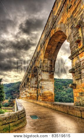 Hdr Image Of Pont Du Gard, Ancient Roman Aqueduct Listed In Unesco