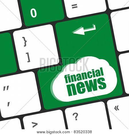 Financial News Button On Computer Keyboard