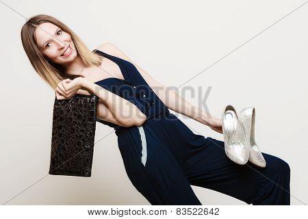 Stylish Woman Fashion Girl Holds Handbag And Shoes
