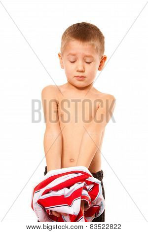 Childhood Independence Concept - Little Boy Dressing Up