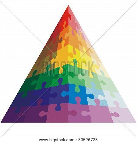 Jigsaw puzzle shape of a triangle,  colors  rainbow. Vector illu