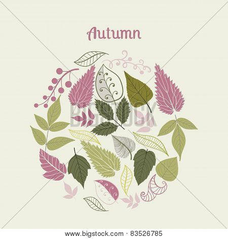 Vector illustration of circle made of leaves. Round shape made of different kinds of leaves.Vintage