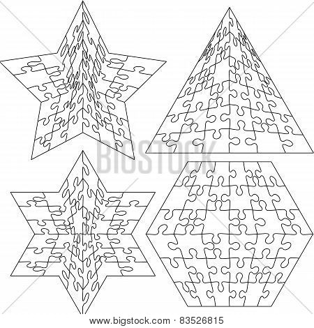 Jigsaw puzzle set  geometric shapes, Black and white. Vector ill