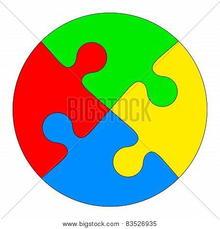 Jigsaw puzzle in the form of a colored circle. Vector illustrati