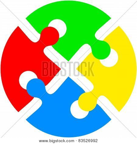 Jigsaw puzzle in the form of push the colored circle. Vector ill