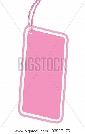 Blank Pink Cardboard Sale Tag Empty Price Label Pricetag Badge Isolated Macro Vertical Copy Space