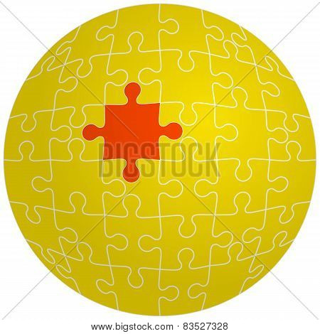 Jigsaw puzzle in the shape of a sphere with one red. Vector illu