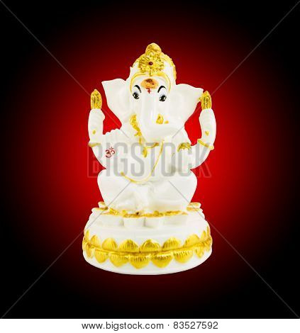 Hindu God Ganesha Over A White Background