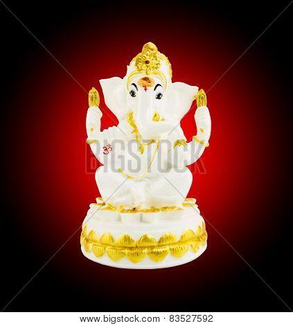 Hindu God Ganesha Over A White Background