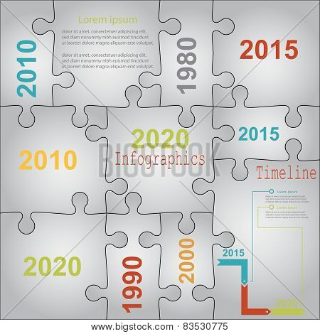 Infographic report templates in puzzle jigsaw elements grey. Vec