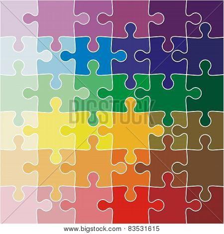 Jigsaw puzzle color of the rainbow. Vector illustration.
