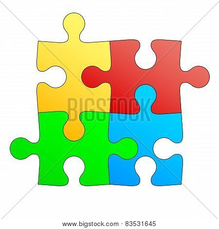 Jigsaw puzzle in four colors. Vector illustration.