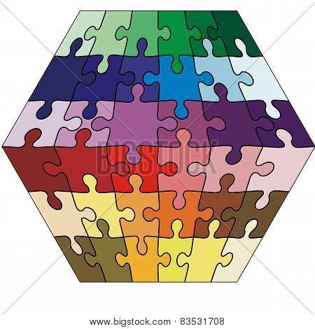 Vector Illustration jigsaw puzzle cuboid.