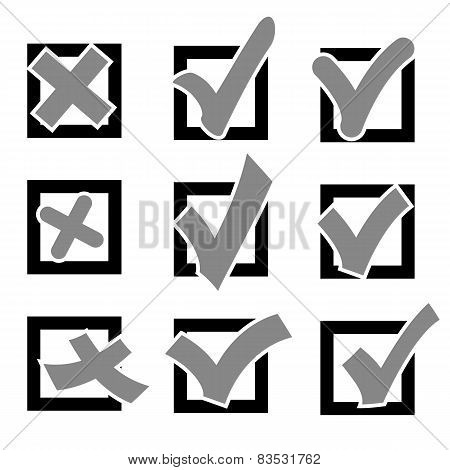 Set  check marks or ticks in boxes conceptual. Vector illustrati