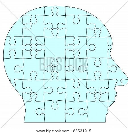 Jigsaw puzzle human head, blue background. Vector illustration.