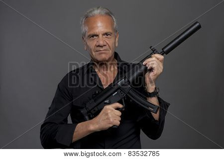 Senior Hitman With Automatic Rifle