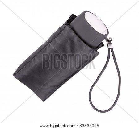 Black Closed Umbrella Isolated