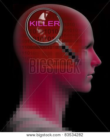 Profile Of A Man With Close Up Of Magnifying Glass On Killer