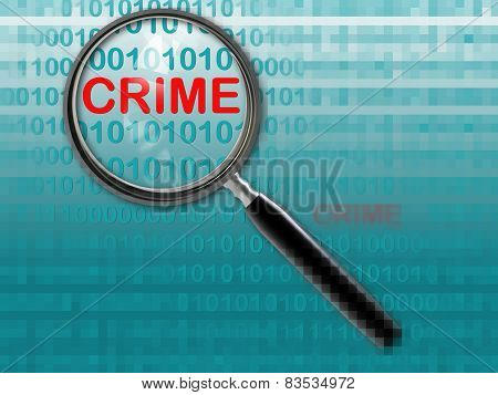 Close Up Of Magnifying Glass On Crime