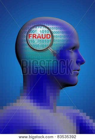 Profile Of A Man With Close Up Of Magnifying Glass On Fraud