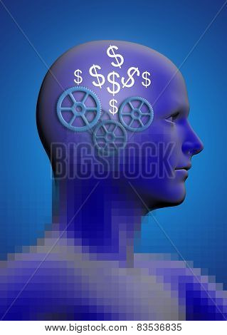 Profile Of A Man With Gears And A Dollar