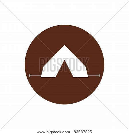 Tourist tent sign icon. Camping symbol. Travel design. Circle flat button. Modern UI website navigat