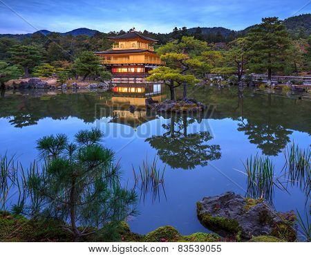 Kinkakuji Golden Pavilion At Night, Kyoto, Japan