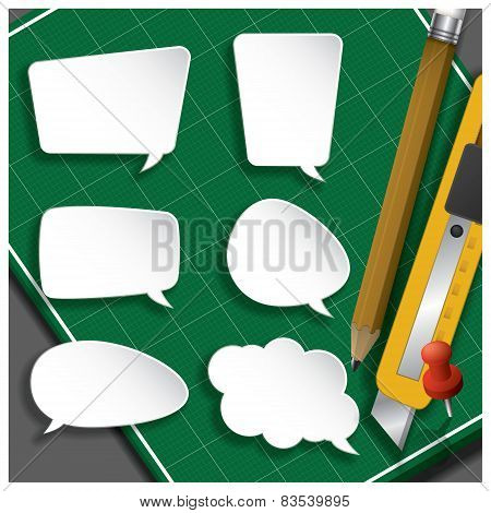 Speech Bubble Paper Cut With Pencil And Cutter On Self Healing Cutting Mat