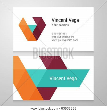 Modern Letter V Business Card Template