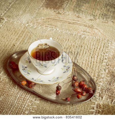 Vintage Cup Of Tea On Carpet, Closeup
