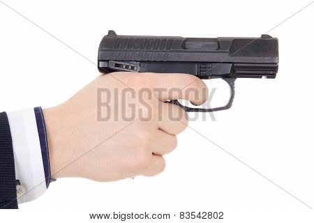 Male Hand Holding Gun Isolated On White